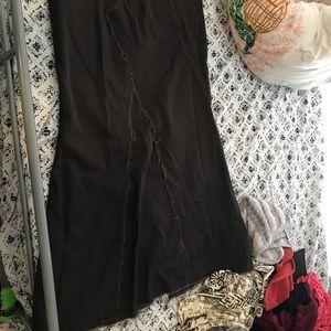 Volcom long back slit dark olive skater skirt NWOT